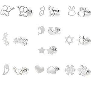 10 Pairs Silver Plated Post Cute Animal Fruit Stud Earrings Set Hypo-Allergenic (elephant stars snow cat love)
