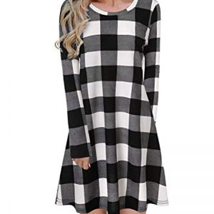 Blooming Jelly Ladies Plaid Dress Long Sleeve Swing Jumper Winter T Shirt Dresses for Women